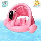 Brave Hours Baby Pool Float Flamingo Toddlers Floaties Infant Inflatable Swimming Ring with Sun Canopy for The Age 6-48 Months