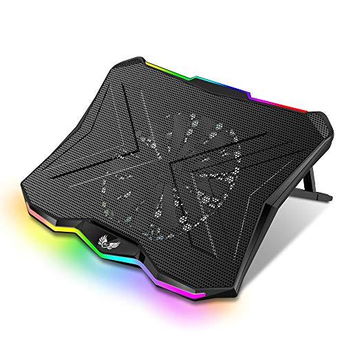 SK Notebook Laptop Rainbow RGB Kühler Gamer Ständer Kühlpad Unterlage Cooler für 9-18 Zoll/Lüfter / 5-7 Stufen Höhenverstellung/dünn & mobil (Rainbow)