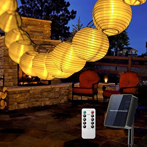 Solar Lichterkette Aussen Lampions, QXMCOV 6.3 Meter 30 LED Laternen 8 Modi Wasserdicht Solar Lichterkette Auße Beleuchtung für Hochzeit, Garten, Hof, Terrasse, Fest Deko, Warmweiß