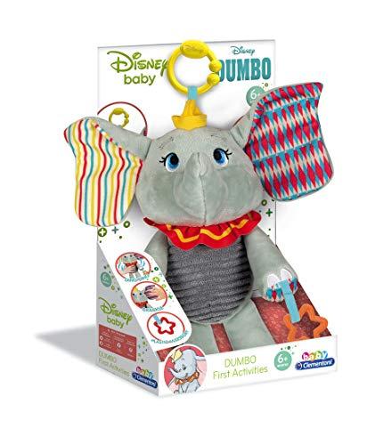 Clementoni 17297 Disney Baby – Dumbo Aktivitäts-Plüsch, kuscheliges Lernspielzeug, Plüschtier zur Entwicklung der Sensorik & des Tastsinns, für Babys ab 6 Monaten