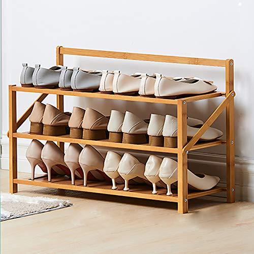 KWOPA Bamboo Shoe Rack,Simple Household Put Doorway 3-layer Small Economic Shoe Shelf,Folding Free Installation Dormitory Storage Shoe Cabinet-Wood color 70x23.8x45cm