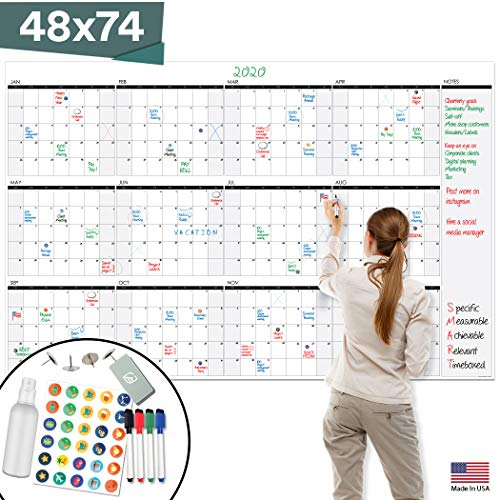 "Large Dry Erase Wall Calendar - 48"" x 74"" - Undated Blank 2020 Reusable Yearly Calendar - Giant Whiteboard Year Poster - Laminated Office Jumbo 12 Month Calendar"