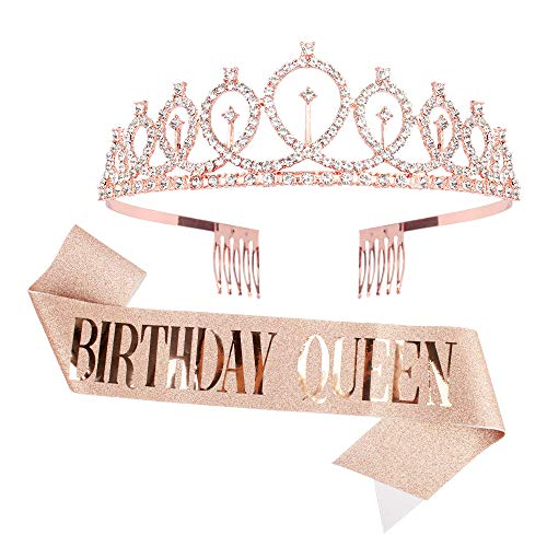 Birthday Crowns for Women, CIEHER Birthday Queen Sash & Rhinestone Tiara, Birthday Crown, Birthday Sash for Women,Tiaras and Crowns for Women,Birthday Tiara,New Years Eve Tiaras