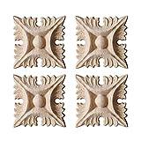 Surui 4 piezas de madera tallada muebles applique adorno tallado adorno para puerta casa puerta decoración DIY hecho a mano 8 x 8cm #2