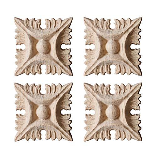 Freahap 4Pcs Madera Tallada para Puerta de Cama Apliques tallados Madera Adhesivo sin Pintar, Muebles, Armario, Decoración de Pared #2 S