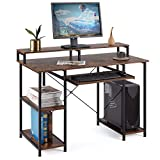 YOLENY Computer Desk,Modern Home Office Desks with Open Storage Shelves,Sturdy Writing Desk with Keyboard Tray and Monitor Shelf