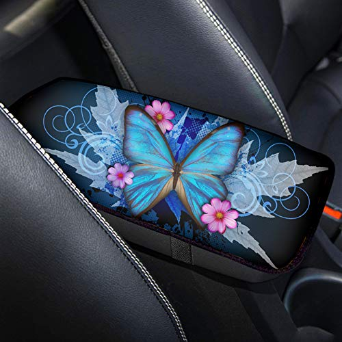 Aoopistc Blue Butterfly Car Accessories Auto Seat Box Armrest Cushion Automotive Center Console Covers for Sedan Van Truck Vehicle Elastics Band Backink Dustproof Best Gift