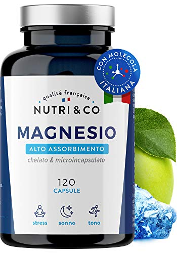 Magnesio Vegetale 1350mg   300 mg di Magnesio Elementare con Biodisponibilità Suprema  Magnesio Malato, Taurato & Liposomiale Superiore a Citrato e Ossido   120 Capsule Vegane   NUTRI & CO®