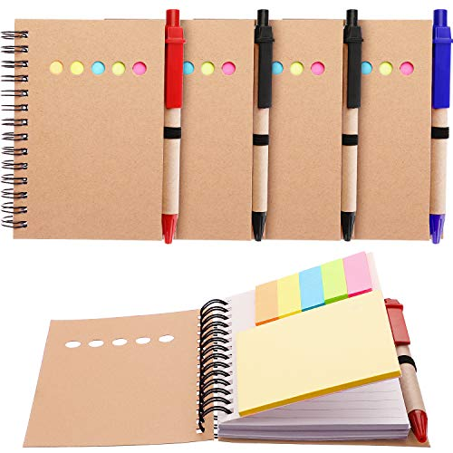 Maxdot 4 Pieces Kraft Paper Steno Pocket Business Notebook Spiral Lined Notepad Set with Pen in Holder, Sticky Colored Notes Page Marker Tabs (Brown Cover)