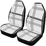 N/A Patrón de tejido a rayas grises Cubierta del asiento del automóvil Asientos delanteros Protector del asiento Cojines del asiento del automóvil fCar