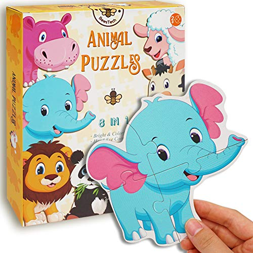 BEESTECH Beginner Puzzles for 2, 3 Years Old Toddlers, 8...