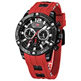 Men's Watches, MINI FOCUS Waterproof Sports Watches for Men, Casual Quartz Wrist Watch with Silicone Watch Strap (Red&Black)