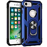 iPhone 6 6s iPhone 7 and iPhone 8 Case, Extreme Protection Military Armor Dual Layer Protective Cover with 360 Degree Unbreakable Swivel Ring Kickstand for iPhone 6 6s and iPhone 7 8 Blue