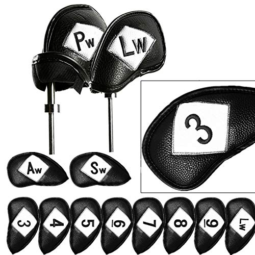 FINGER TEN Golf Club Covers for Irons Set 12 Piece 3 4 5 6 7 8 9 Lw Pw Sw Aw for Both Left and Right Handed, Leather Iron Club Headcovers Color Black Blue Red Universal Fit Main Iron Clubs (Black)