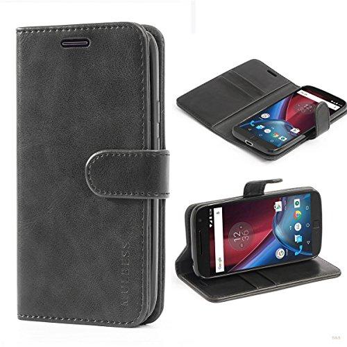 Mulbess Cover per Motorola Moto G4 Play, Custodia Pelle con Magnetica per Motorola Moto G4 Play Case, Nero
