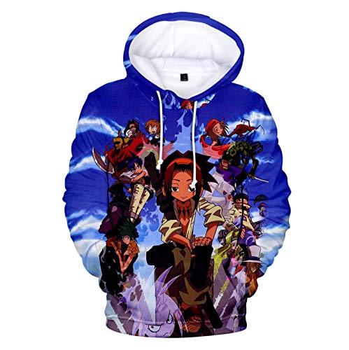 Sudadera con Capucha Unisex Shaman King con Cordón, Dibujos Animados De Personajes De Anime De Japón Impresos con Cuello Redondo Streetwear Sudaderas con Capucha De Manga Larga