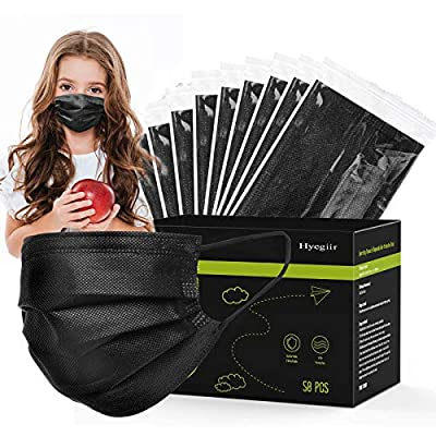 Hyegiir Kids Individually Wrapped Breathable Disposable Face Masks,3-Ply Non-woven Comfortable Face Masks,Suitable for Prevent Droplets,Industrial Applications,Production Workshop,Dust Exposure.