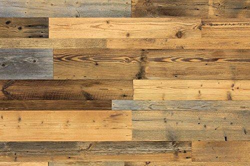 wodewa Wandverkleidung Holz I Altholz Kiefer P180 I Recycling Nachhaltige EchtHolz Wandpaneele I Moderne Wanddekoration Wohnzimmer, Küche
