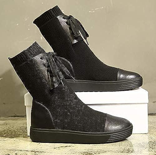 AGECC mujer mujer Invierno mujer botas de Invierno botas de Cuero Lana Elástica Grueso zapatos de Fondo Plano botas Calcetines Buena Suerte para ti