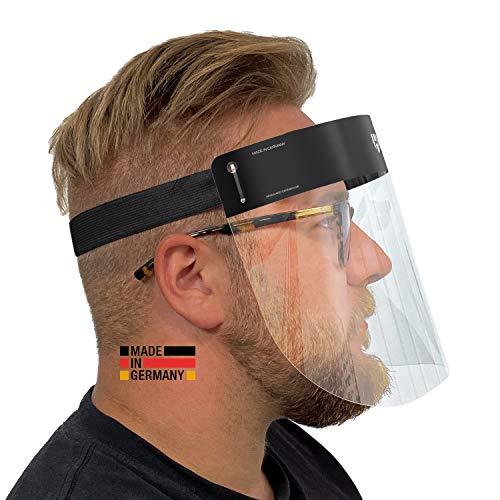 HARD 2x por visera careta de plástico | Protector facial con antiniebla | Visera facial | Pantalla facial certificada Hecho en alemania | En Negro/Negro para adultos
