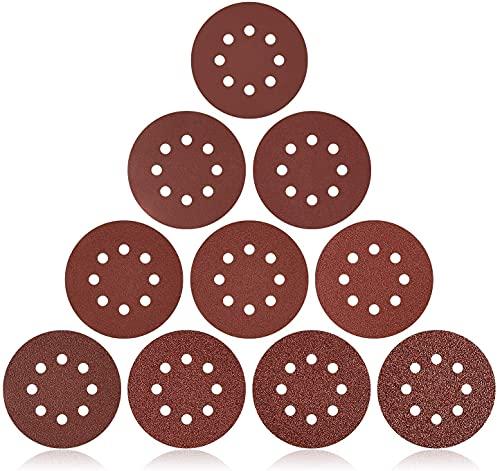 160 Pieza Discos de Lija 125 mm, JUEMEL Lijas para lijadora con Papel Abrasivo autoadhesivos, 60/80/100/120/150/240/320/400/600/1000 Granos, con 8 Agujeros, Durable para Lijadora Orbital