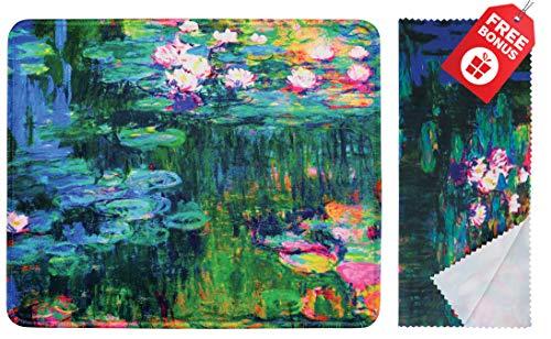 Mouse pad Claude Monet Water Lilies VI con colorato disegno classico. Base antiscivolo. Panno per pulizia in microfibra coordinato. Mouse pad per laptop e viaggi