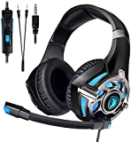 SADES SA822 Gaming Headset for PS4 Xbox One PC,Soft Earmuffs Over-Ear Bass Surround Headphones with Noise Cancelling Microphone
