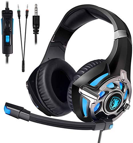 SADES Xbox One PC-Gaming-Headset 7.1-Kanal Virtual USB Surround Stereo Over Ear mit Mikrofon Revolution Lautstärkeregler Geräusche Schwarz schwarz / blau