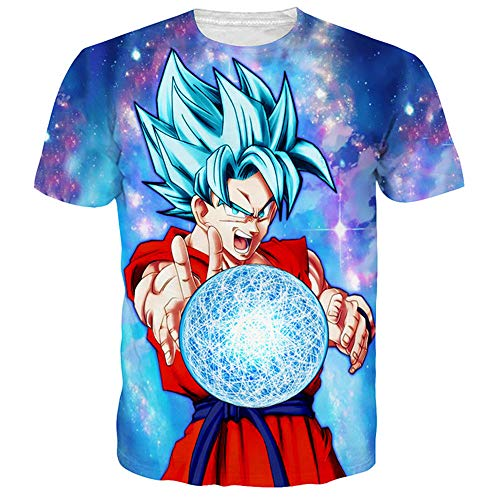 DIDIYICHU Camisetas de Mujer para Hombre Camiseta de Fiesta Informal de Verano de Manga Corta 3D Sudadera con Capucha Estampada Camiseta Pintada de Color Lindo Dragon Ball-XXL