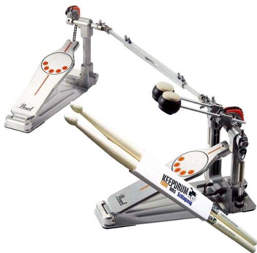 Pearl P-932 Doppelfussmaschine Bassdrum-Pedal + keepdrum Drumsticks
