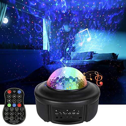 Proyector de Luz Estelar Galaxia, LED de Luz Nocturna Giratorio Lámpara de Mesa 43 Modos Musica Lampara con Bocina Bluetooth/Control Remoto/Altavoz/Temporizador, Infantil Regalo Navidad