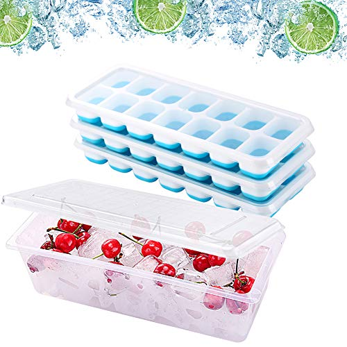 Ice Cube Bin Box Trays 3 Pack with Covers - Stackable Ice Storage Container and Trays lids, Ice Holder Bucket for Freezer, BPA Free, Space Saving, A Must Ice Tool. By MERRYBOX.