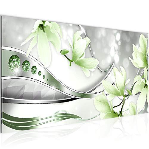 Bilder Blumen Magnolien Wandbild Vlies - Leinwand Bild XXL Format Wandbilder Wohnzimmer Wohnung Deko Kunstdrucke Grün 1 Teilig - MADE IN GERMANY - Fertig zum Aufhängen 207212b