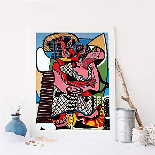 Oszagh Wand-Kunst-Bild Wohnkultur Leinwand-Malerei, Der Kuss von Picasso Wandkunst 16x20 Zoll, Wandbild, Leinwanddruck, Dekodruck -Rahmenlos -AKT-6871