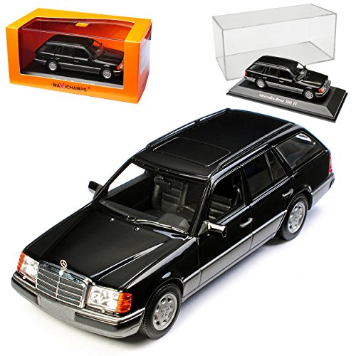 Minichamps Mercedes-Benz E-Klasse S124 300TE Kombi T-Modell Schwarz 1984-1997 1/43 Maxichamps Modell Auto mit individiuellem Wunschkennzeichen