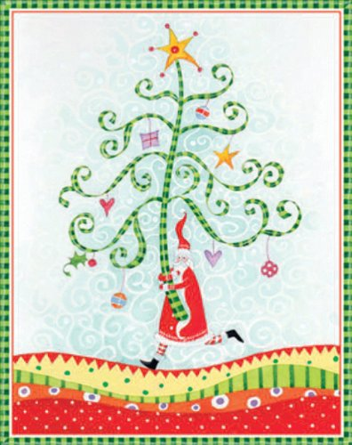 Entertaining with Caspari Santa with Tree Christmas Cards with Unlined Envelopes, Box of 16