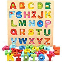 Jamohom Wooden Alphabet Puzzles Board for Toddler, 2-5 Years Old Boys and Girls
