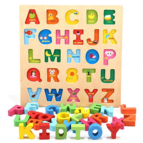Jamohom Wooden Alphabet Puzzle for Toddlers, Chunky ABC Puzzles Board for 2-5 Years Old, Educational Learning Letters for Boys and Girls, Preschool Puzzle Gifts for Kid