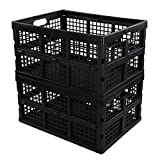 Saedy Black Stacking Milk Crates, 34-Quart Collapsible Container Bins, 2 Packs