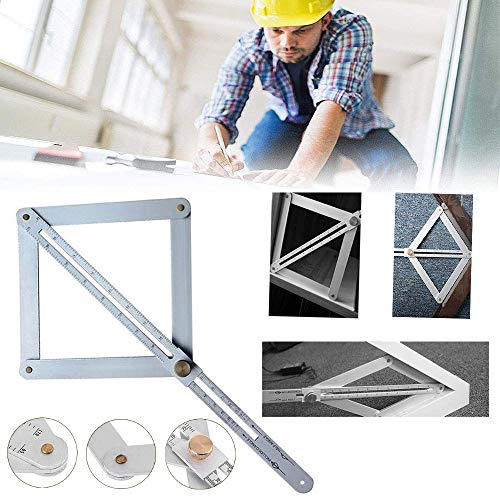 VISLONE Professional DIY Multi-Angle Corner Angle Finder Stainless Steel Protractor Tile Wood Ruler Woodworking Model Craft Angle Square Corner Angle Finder Tool