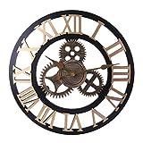 H0_V Vintage Wanduhr, Lautlos Metall Wanduhr Wanduhr ohne Tickgeräusche 3D Dekorative Zahnrad mit Römischen Ziffern, Durchmesser 50cm(20in)
