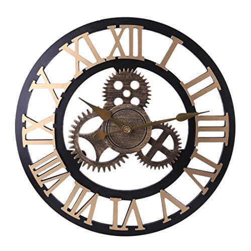 H0_V Redondo Reloj de Pared Silencioso, 50cm Reloj de Pared Grande Vintage Antiguo Hecho a Mano de Madera 3D Diseño de Gear