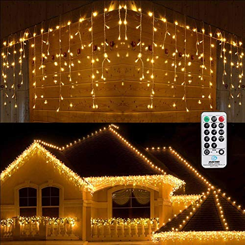 Christmas Icicle Lights Outdoor, BrizLabs 45.3ft 360 LED Warm White Indoor Curtain Fairy Lights Twinkle String Lights Waterproof 8 Modes 3 Timer Dimmable for Window Party Wedding Garden Balcony Decor