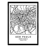Drucken Stadtplan Sao Paulo skandinavischen Stil in Schwarz