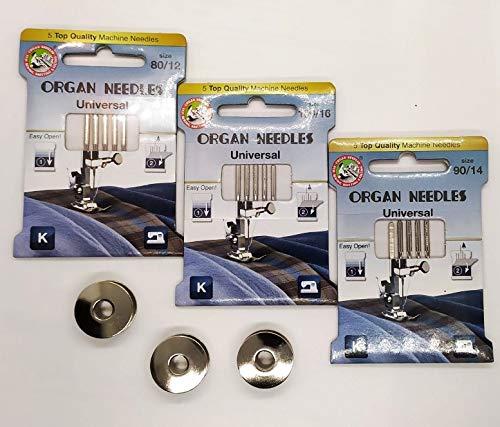 3 Estuches Agujas surtidas ORGAN para maquinas de coser y 3 canillas metalicas(Sigma 2000)