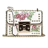 shuangklei Bordado Floral Flap Bag Women Designer Leather Fashion Rivet Messenger Bags Elegant Lady Retro Hombro Bolso Mujer-C