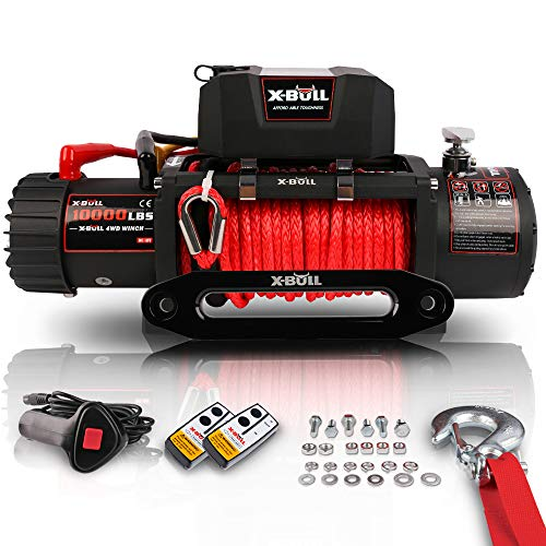 X-BULL 12V Synthetic Rope Winch-10000 lb. Load Capacity Electric Winch Kit,Waterproof IP67 Electric Winch with Hawse Fairlead, with Both Wireless Handheld Remote and Corded Control Recovery