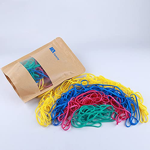 Rubber Bands, Matfamily Size 33 (3 1/2' x 1/8'') Colorful Natural Rubber Band, 33 Heavy Duty Elastic Office Supplies Rubber Bands for Office Files Bank Paper Bills Money or School (1/4 Pound Bag)