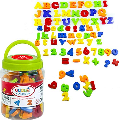 AOLVO 80 Pcs Letras Y Nmeros Magnticos para Nios - Maysculas Minsculas Alfabeto A-Z Imanes De Refrigerador Magnets Educational Toys para Reconocimiento De Letras,nmeros Y Colores Aprendizaje