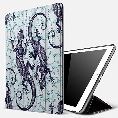 Qinniii Carcasa con Magnetic Auto-Sueño,Gecko Lagarto Resumen Reptil Animal,Ligéra Protectora Suave Silicona TPU Smart Cover Case para iPad 5./6.
